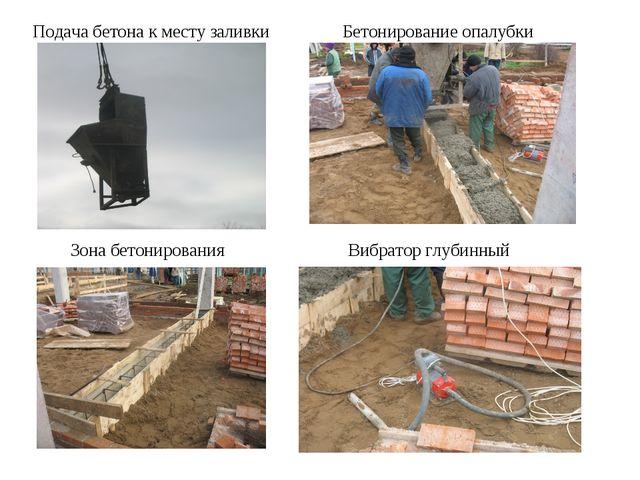 Бетонирование опалубки Подача бетона к месту заливки Зона бетонирования Вибра...