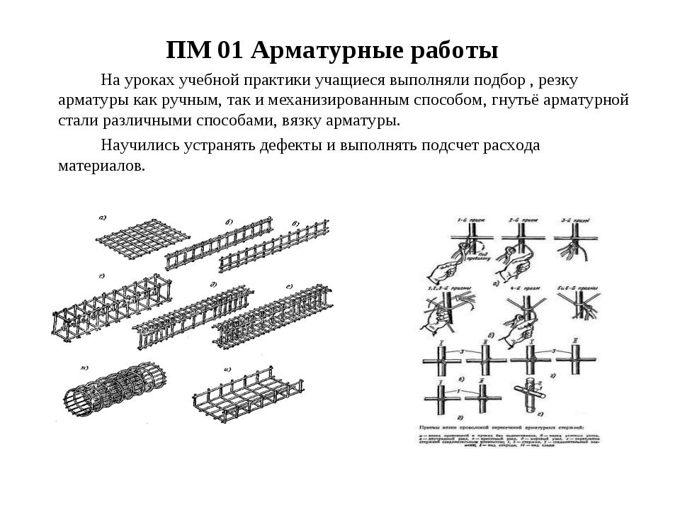 ПМ 01 Арматурные работы На уроках учебной практики учащиеся выполняли подбо...
