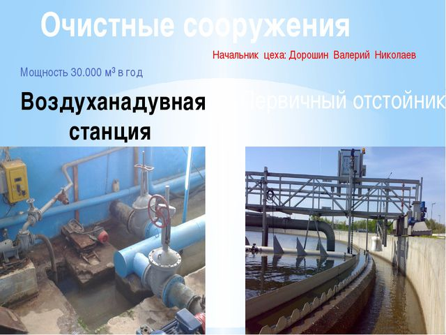 Начальник цеха: Дорошин Валерий Николаев Мощность 30.000 м³ в год Очистные со...