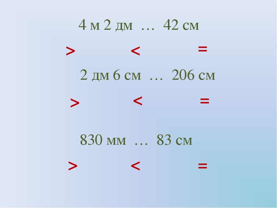 4 м 2 дм … 42 см > < = 2 дм 6 см … 206 см 830 мм … 83 см > > < < = =