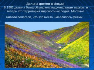 Долина цветов в Индии. В 1982 долина была объявлена национальным парком, и те