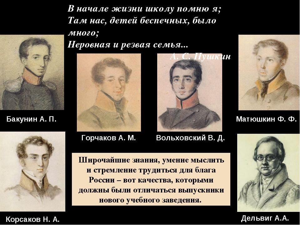 Матюшкин Ф. Ф. Бакунин А. П. Вольховский В. Д. В начале жизни школу помню я;...