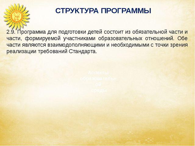 СТРУКТУРА ПРОГРАММЫ Аспекты образовательной среды 2.9. Программа для подгото...