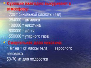 Курящие ежегодно выкуривают в атмосферу: 720 т синильной кислоты (яд!) 38