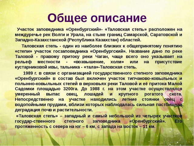 Общее описание Участок заповедника «Оренбургский»- «Таловская степь» располож...