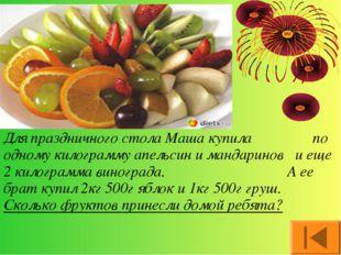 Для праздничного стола Маша купила по одному килограмму апельсин и мандаринов