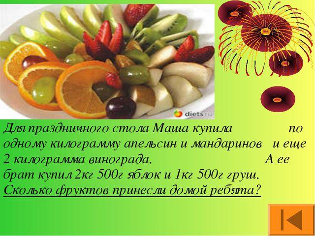 Для праздничного стола Маша купила по одному килограмму апельсин и мандаринов...
