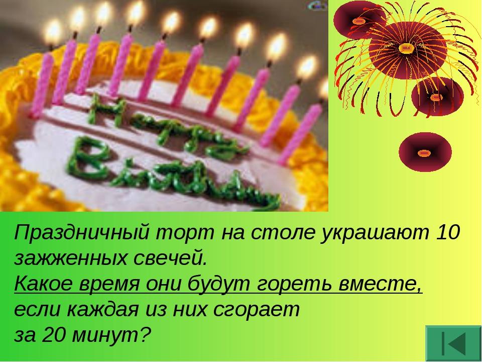 Праздничный торт на столе украшают 10 зажженных свечей. Какое время они будут...