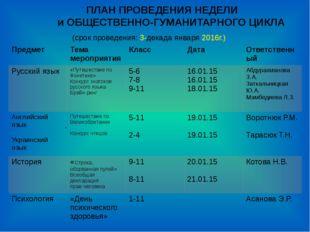 ПЛАН ПРОВЕДЕНИЯ НЕДЕЛИ и ОБЩЕСТВЕННО-ГУМАНИТАРНОГО ЦИКЛА (срок проведения: 3