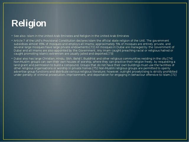 Religion See also: Islam in the United Arab Emirates and Religion in the Unit...