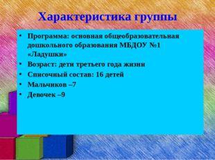 Характеристика группы Программа: основная общеобразовательная дошкольного обр