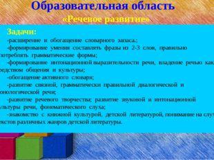 Образовательная область «Речевое развитие» Задачи: -расширение и обогащение с