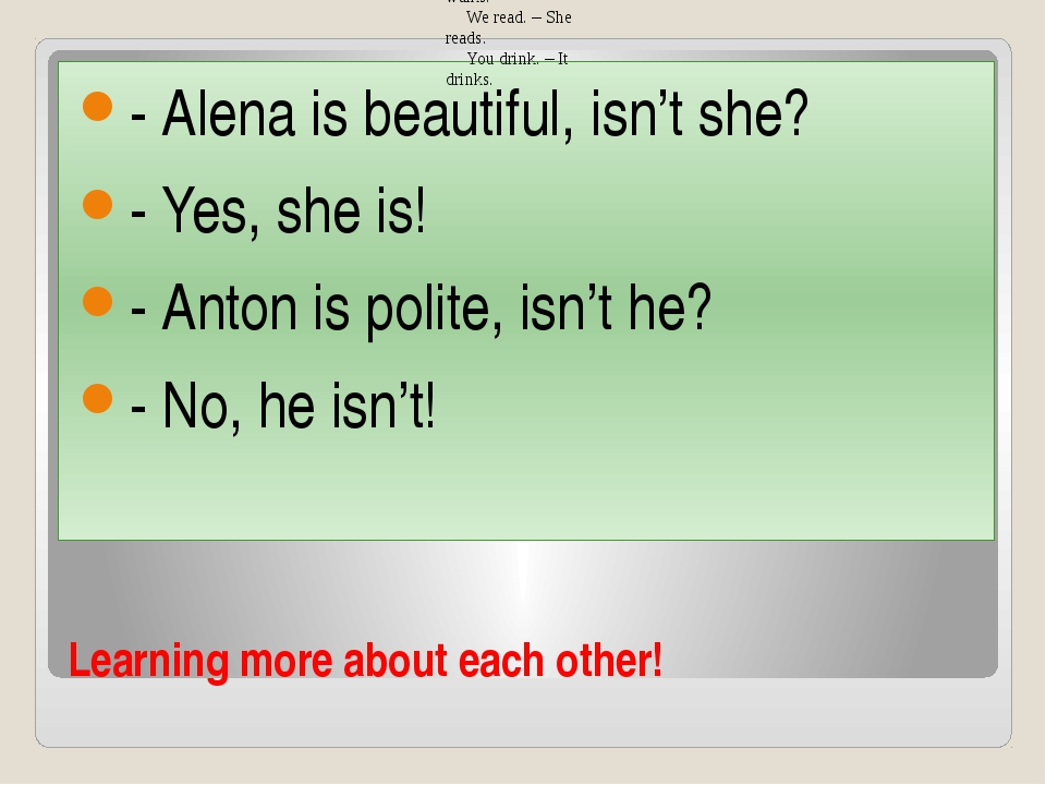 Learning more about each other! - Alena is beautiful, isn't she? - Yes, she i...