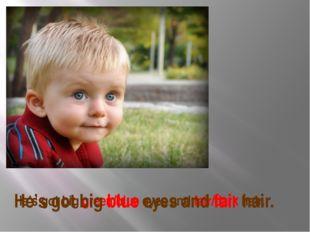 He's got big green/blue eyes and fair/dark hair. He's got big blue eyes and f