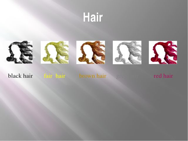 Hair black hair fair hair brown hair grey hair red hair Next we move to detai...