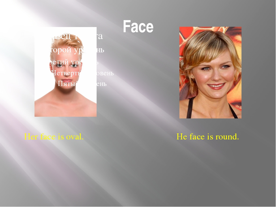 Face Her face is oval. He face is round. Face Is her face oval or round? Is h...