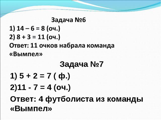 Задача №7 1) 5 + 2 = 7 ( ф.) 2)11 - 7 = 4 (оч.) Ответ: 4 футболиста из коман...
