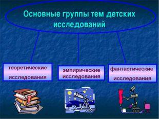 Основные группы тем детских исследований теоретические исследования эмпиричес