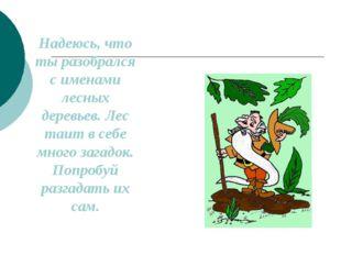 Надеюсь, что ты разобрался с именами лесных деревьев. Лес таит в себе много з