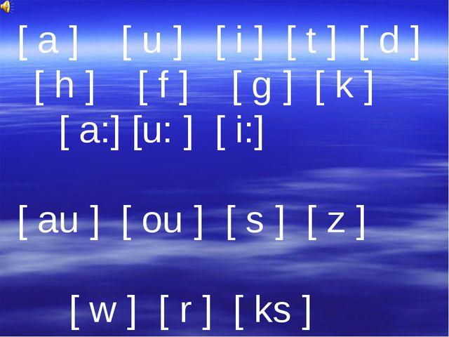 [ a ] [ u ] [ i ] [ t ] [ d ] [ h ] [ f ] [ g ] [ k ] [ a:] [u: ] [ i:] [ au...