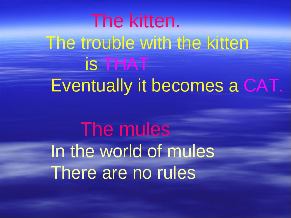 The kitten. The trouble with the kitten is THAT Eventually it becomes a CAT....