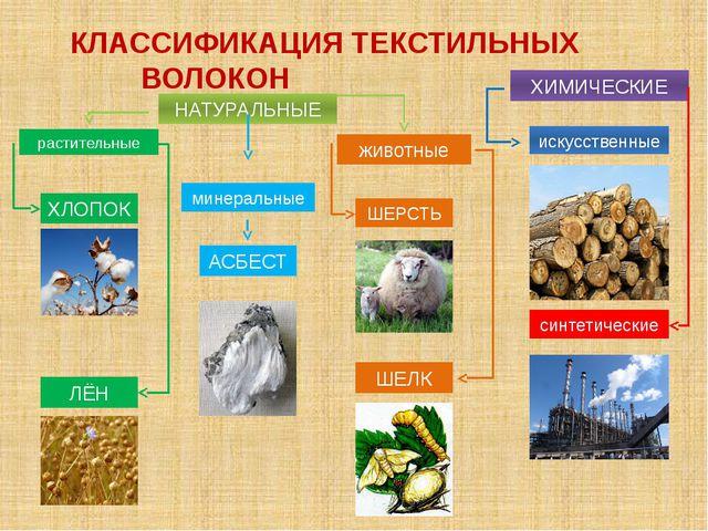 КЛАССИФИКАЦИЯ ТЕКСТИЛЬНЫХ ВОЛОКОН НАТУРАЛЬНЫЕ ХИМИЧЕСКИЕ растительные мин...