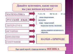 МАТЕМАТИКА 7 + 9 = 16; 36: 12 = 3; 52 = 25 РУССКИЙ ЯЗЫК члены предложения вид
