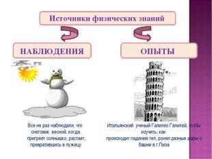 Источники физических знаний НАБЛЮДЕНИЯ ОПЫТЫ Все не раз наблюдали, что снегов