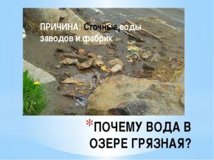 ПОЧЕМУ ВОДА В ОЗЕРЕ ГРЯЗНАЯ? ПРИЧИНА: Сточные воды заводов и фабрик