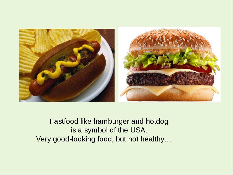 Fastfood like hamburger and hotdog is a symbol of the USA. Very good-looking...