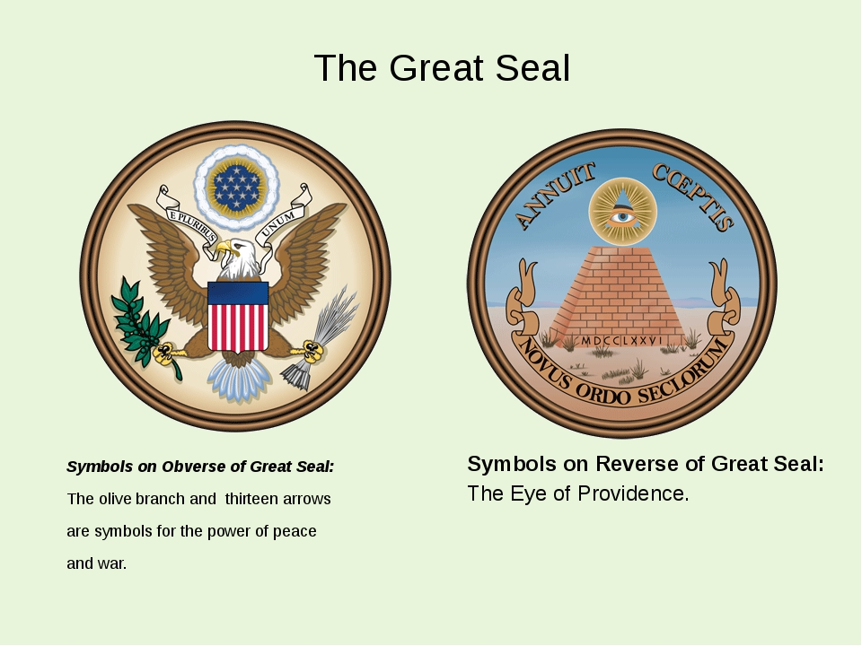 The Great Seal Symbols on Obverse of Great Seal: The olive branch and thirtee...