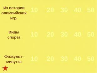 Из истории олимпийских игр. 10  20 30 40 50 Виды спорта 10  20 30 4