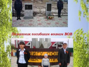 Памятное место моей малой Родины Памятник погибшим воинам ВОВ Я –гражданин с
