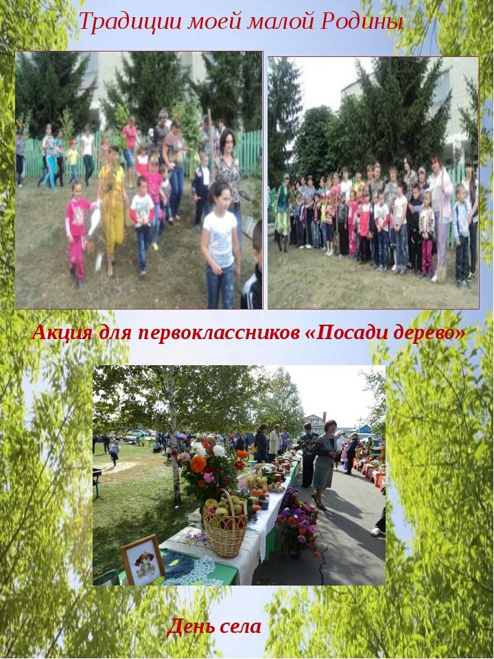 Традиции моей малой Родины Акция для первоклассников «Посади дерево» День села