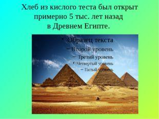 Хлеб из кислого теста был открыт примерно 5 тыс. лет назад в Древнем Египте.