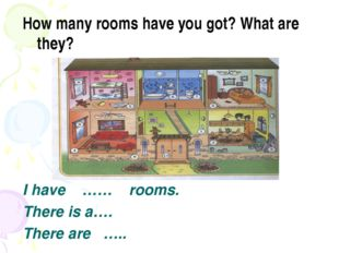 How many rooms have you got? What are they? I have …… rooms. There is a…. The