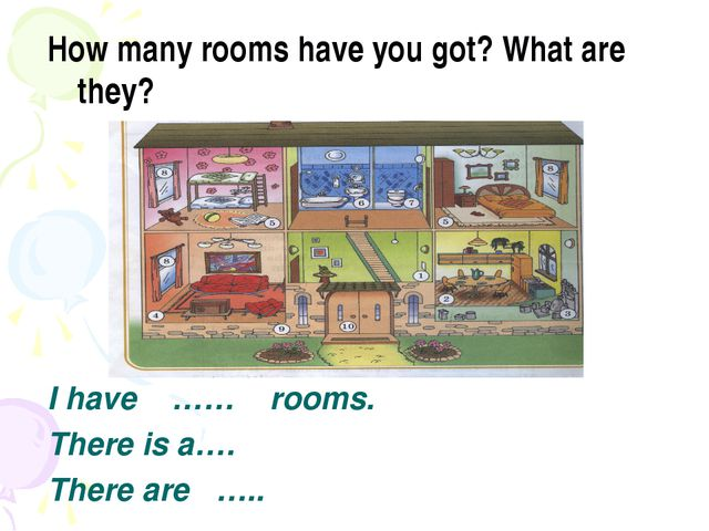 How many rooms have you got? What are they? I have …… rooms. There is a…. The...