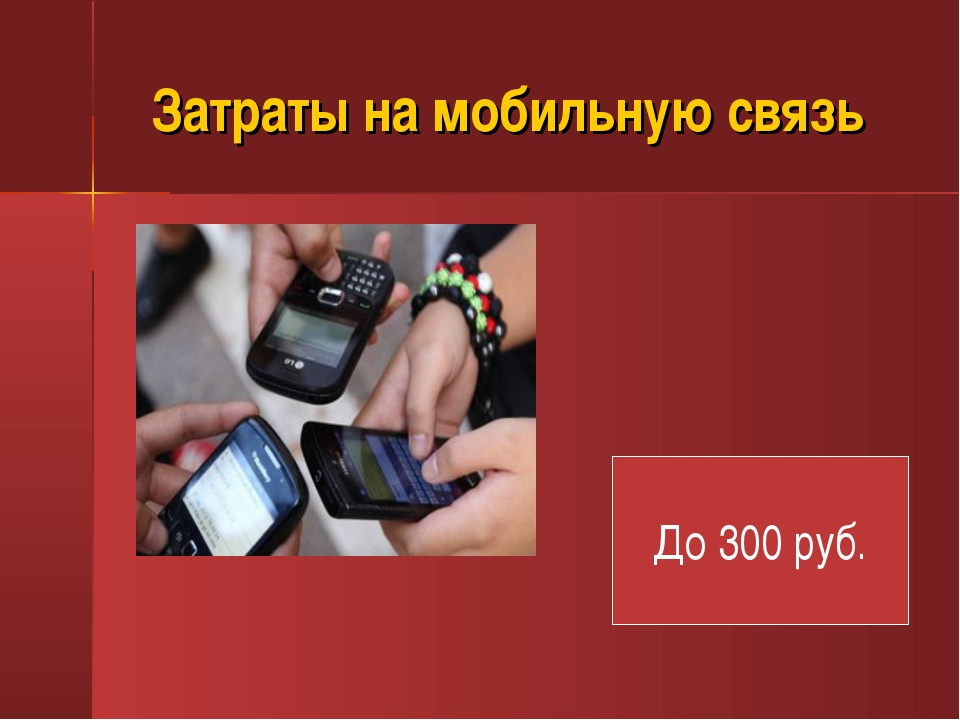 Затраты на мобильную связь До 300 руб.