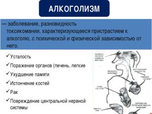 Усталость Поражение органов (печень, легкие Ухудшение памяти Истончение косте