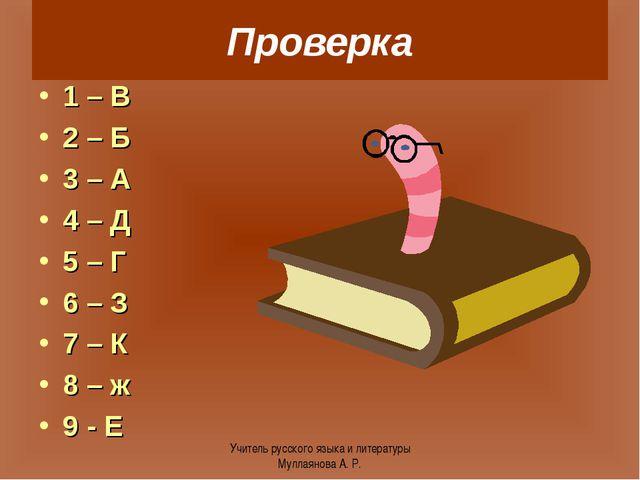 Проверка 1 – В 2 – Б 3 – А 4 – Д 5 – Г 6 – З 7 – К 8 – ж 9 - Е Учитель русско...