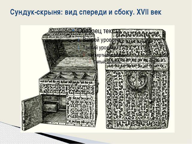 Сундук-скрыня: вид спереди и сбоку. XVII век