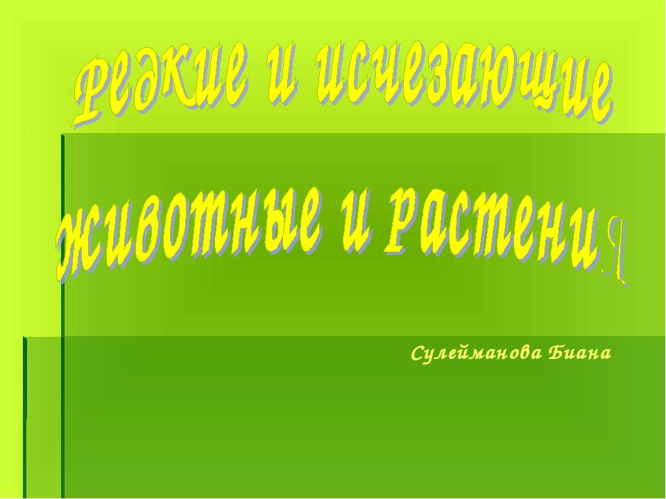 Сулейманова Биана