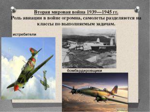 Вторая мировая война 1939—1945 гг. Роль авиации в войне огромна, самолеты раз