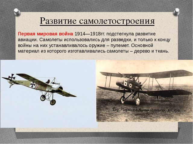 Развитие самолетостроения Первая мировая война 1914—1918гг. подстегнула разви...