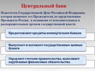 Центральный банк Подотчетен Государственной Думе Российской Федерации, котора
