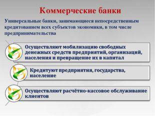 Коммерческие банки Универсальные банки, занимающиеся непосредственным кредито