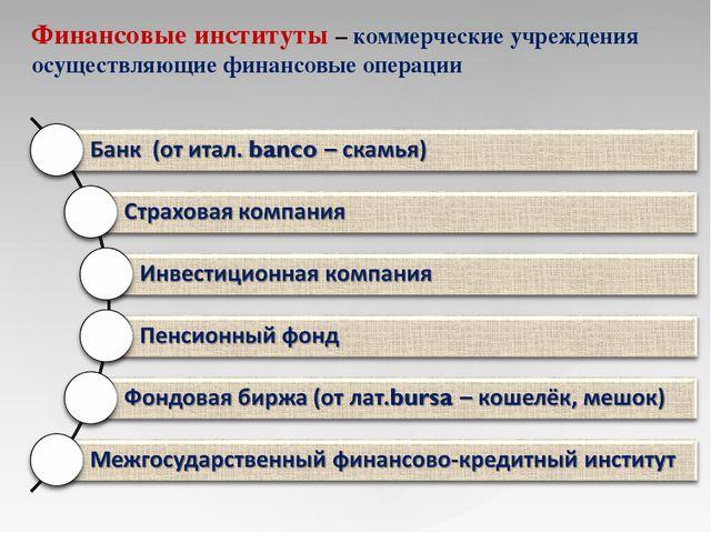 Презентация на тему Банковская система  Финансовые институты коммерческие учреждения осуществляющие финансовые опер