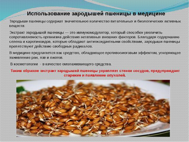Использование зародышей пшеницы в медицине Зародыши пшеницы содержат значите...