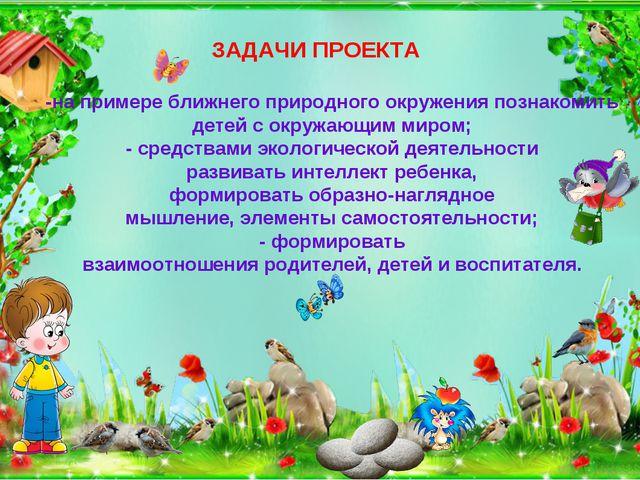 ЗАДАЧИ ПРОЕКТА -на примере ближнего природного окружения познакомить детей с...
