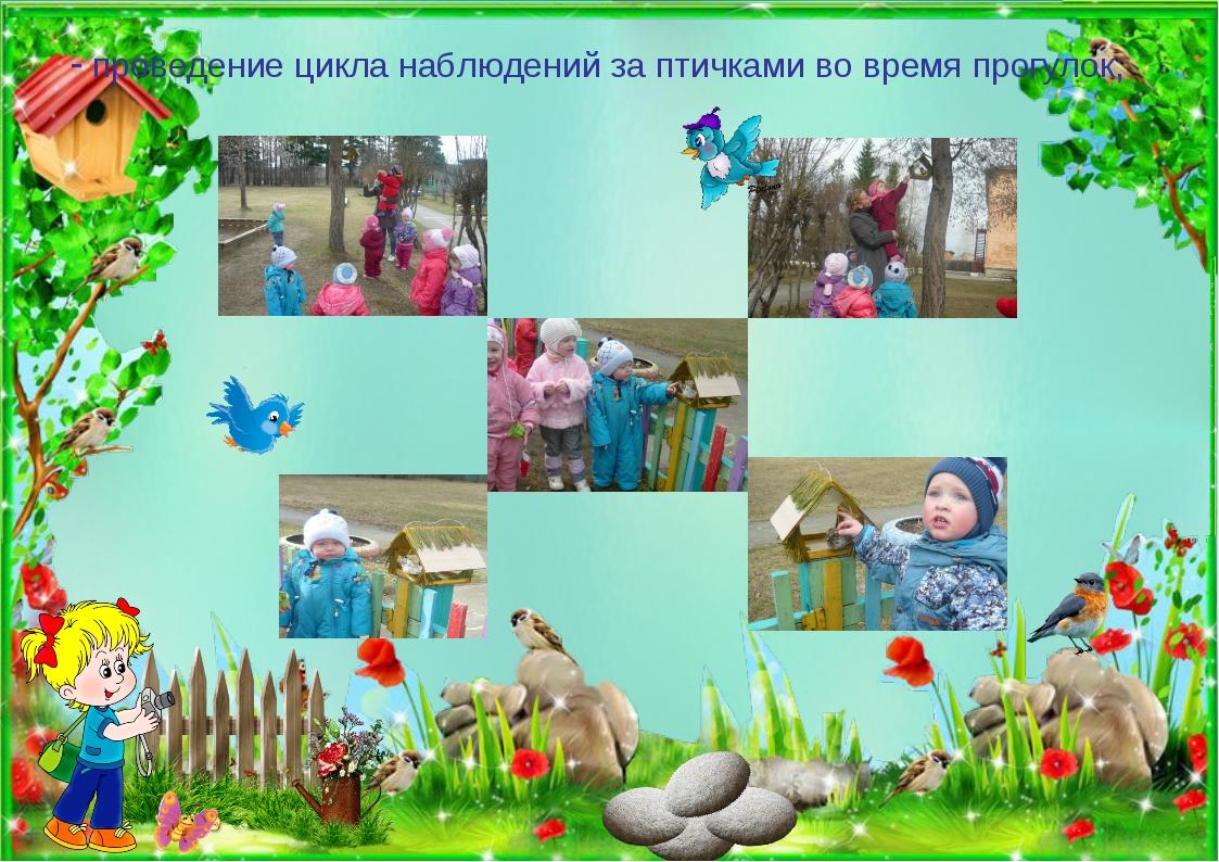 - проведение цикла наблюдений за птичками во время прогулок;